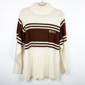 South Pole Vintage Cream & Brown Stripe Turtleneck